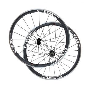 Free Shipping 23mm Width 38mm Clincher Carbon Bicycle Road Wheels Aluminium Braking Surface Powerway R13 hub