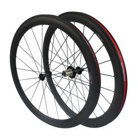 CSC Straight Pull R51 Hub 50mm Tubular Clincher Carbon Bike Road Wheels 2:1 Pattern in rear wheel