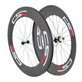 6 Pawls Bitex R13 hub Sapim CX Ray 88mm Tubular Clincher Carbon Bicycle Road Wheels