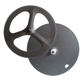 Tri spokes front wheel full disc bicycle rear wheel
