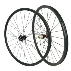 29inch Chinese Tubeless Carbon MTB Wheelset 28mm width Hookless 15x100 TA or QR or 15X110 Boost Option 1430g